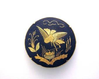Damascene Vintage Bird Brooch Black Gold Jewelry Trombone Clasp