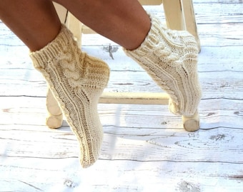 Hand knit socks cable knit socks bed socks cream ivory cottage chic womens socks gift for her handmade birthday Christmas gift under 35