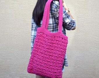Crochet tote bag shoulder bag 100% cotton avoska handmade bag beach farmers market boho bohemian hot pink summer bag reusable tote