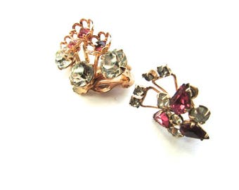 2 Rhinestone Lot Earrings Pink Crystal Assemblage Jewelry Supply Gold Filled