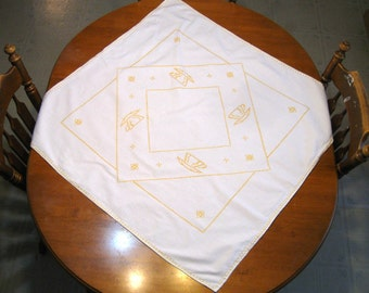 Cross Stitch Table Topper - Cottage Charm -  French Country Decor - Victorian - Table topper - Handmade - Cross Stitch - Vintage Linen