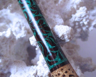 """The """"Princess Eve"""" Fancy Leaves Hair Stick Featuring African Blackwood Inlaid with Malachite and Gold Leaf"""