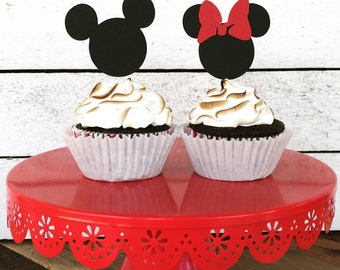 Mickey & Minnie Mouse Cupcake Toppers -Mickey Birthday Party Favor - Set of 12 - Mickey and Minnie Mouse Birthday Party