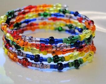 Rainbow beaded coil wrap bracelet, memory wire