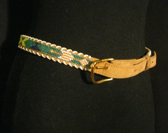 Beaded Ethnic Leather Belt Tan Whipped Stitched Boho SM