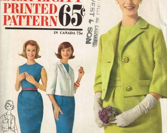 60s Womens Suit Pattern Simplicity 4801 Bust 34 Sleeveless Dress and Jacket Pattern Jackie O Style Classic 60s Vintage 1960s Sewing Pattern