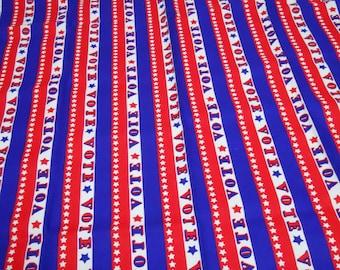 Vintage 60s 70s Patriotic Hippie boho VOTE canvas fabric