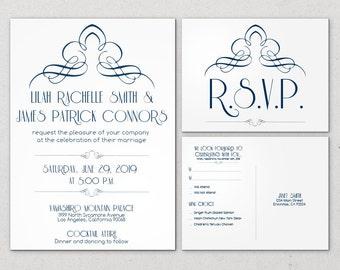 Printable Art Nouveau Invitation Wedding Great Gatsby Retro Historical Custom Flat twenties forties thirties