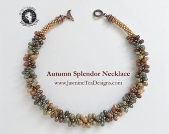 Autumn Splendor Necklace, Fully Beaded Kumihimo Necklace, 19 Inch Necklace, 5 Color Opaque Luster Necklace