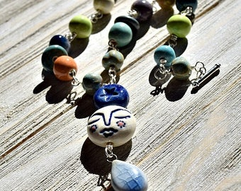 Artisan Ceramic Bead Necklace