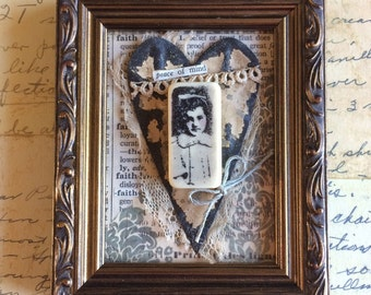 Keep The Faith Antique Ceiling Tile Heart in Frame With Vintage Accents