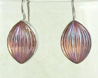 Pink Dangle Earrings Sterling Silver Art Deco Sconce 1920s Art Deco Style Jewelry 536