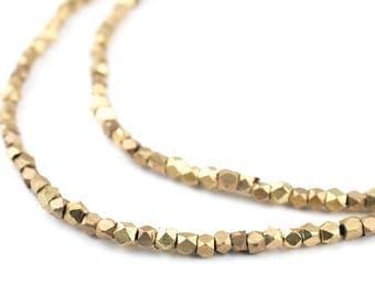 200 Dark Brass Diamond Cut Beads: 2mm Cornerless Cubes Metal Spacer Beads Brass Spacer Beads Brass Cube Beads (MET-CUB-BRS-598)