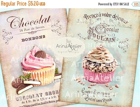 40% OFF SALE - Shabby Chic Patisserie Set no.2 - Large Images - Backgrounds - 5x7 inch - Digital Print - to print on- Tote, Bags, t-shirts D