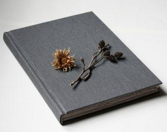 Gray hardback sketchbook, fountain pen friendly