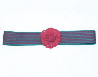 Vintage Belt, Belt With Rose Clasp, Vintage Belts, Ladies Belts, Vintage Ladies Belts, Elastic Belts, Belts by NewYorkMarketplace on Etsy