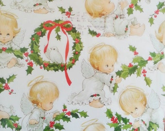 "Vintage Wrapping Paper 4 Sheets Teddy Bears an Angel Babies  Christmas Scrapbook Craft 24"" x 30"" Currents Inc"