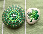 Set of 2 -Dotty Mandala Shamrock Rock and Mini Shamrock