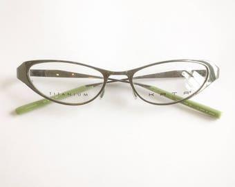 Vintage 1990's Kata Olive Green Titanium Cateye Eyeglasses