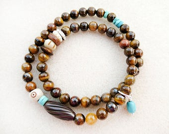 Tigers Eye Bracelet, Double Wrap, Mala, Turquoise, Carved Bone, Brown, Blue, Tribal, Zen, Stretch, Handmade, Gift for Her, Gift for Woman