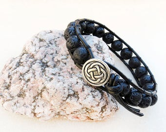 Man's Leather Wrap Bracelet, Black Lava Stone, Celtic, Button, Silver, Black, Basalt, Handmade, Leather Jewelry, Gift for Man, Gift for Him
