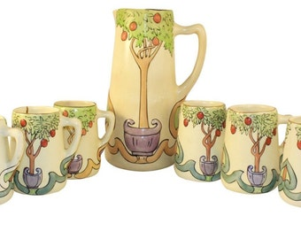 Owens Pottery Decorated Persian Creamware Apple Tree Tankard And Mugs