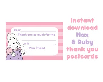 Max and Ruby Birthday fill-in thank you postcards, Instant Download Rabbit Party, Kids party, BunnyParty,