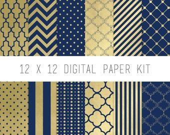 Digital Paper Kit, Digital Scrapbook, Pattern Paper, Instant Download, Scrapbook Supply, scrapbook paper, Navy, Gold, Beauty and the Beast