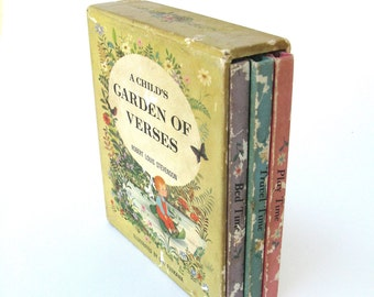a child's garden of verses ...  rare vintage book collection  ...  robert louis stevenson  ...   miniature books in original slipcase