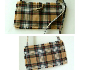 Shoulder Purse - Wool - Plaid - Tartan - Camel - Black - Red - White - Recycled Kilt - Hand Made -  Plaid Purse - Romantic - UNIQUE