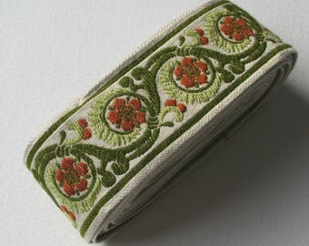 Vintage Upholstery Ribbon Trim Forest Green and Brown Floral Design