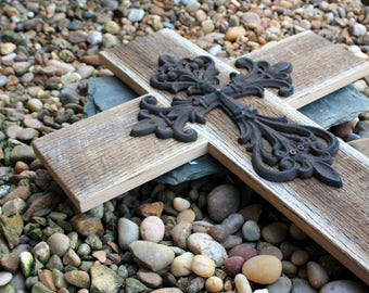 Large Cast Iron Cross. Large Wooden Cross. Rustic Wood Cross. Large Cross. Wood Cross. Reclaimed Wood Cross. 18 w x 22 l. Unfinished.