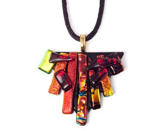 Red & Orange Layered Triangle Necklace