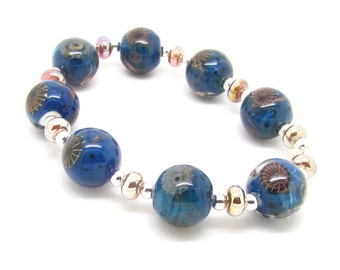 Blue Organic Lampwork Beads,  Lampwork Beads, Lampwork Bead Set, Silver Glass Beads, UK, SRA, FHFteam