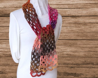 Pink and Brown Scarf, Crocheted Scarf, Multi Color Scarf, Pink Scarves, Women's Fashion Accessory, Scarf Knit with Noro Yarn, Gifts for Her