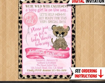 Girls Cheetah Baby Shower Invitations pink and brown jungle safari theme trendy watercolor Printable Personalized DIGITAL INVITATION #372