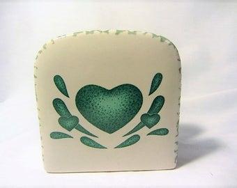 Green Heart Made in China Spongeware Napkin Holder, Table Settings Napkin Holder, Stoneware Napkin Holder, Spongeware Green Heart, Napkin
