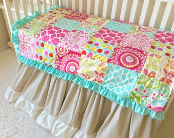 Kumari Toddler Quilt, Mint Crib Comforter, Baby Comforter, Baby Quilt, Baby Pink Toddler Bedding, Yellow
