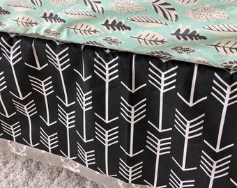 Grey Deer Crib Skirt, Black Arrows Crib Skirt, Tailored Crib Skirt, Grey Crib Skirt, Baby Bed Skirt, Black Crib Skirt, Boy Crib Skirt