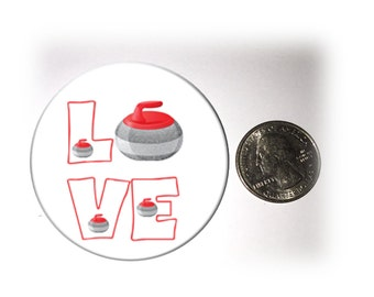Love Curling Refrigerator Magnet 2 1/4 inches in diameter Curling Fridge Magnet
