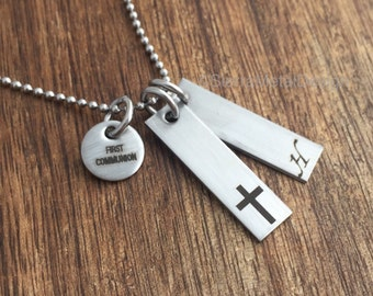 Boys First Communion Necklace For Boy First Communion Necklace First Communion Gift Communion Gift Confirmation Cross Religious Necklace