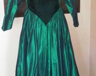 Vintage 1950's Forest Green Party Dress