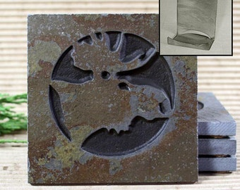 Etched Natural Stone Coaster Set with Holder - Moose Head on Copper Slate