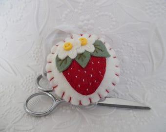 FOB Strawberry Pincushion Wool Felt Scissor Charm Needle Penny Rug Button Felted Wool