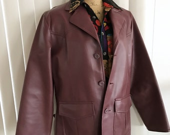 Vintage Guy's Western Cut Hipster Faux Leather Jacket -- Size M -- Vegan Friendly