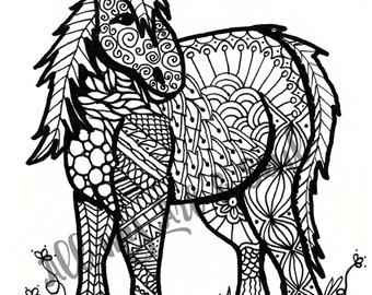 Adult Coloring Page - Horse / Pony - Instant Download - Zentangle - Doodle Illustration - DailyDoodler - Unique Miniature Pony Illustration