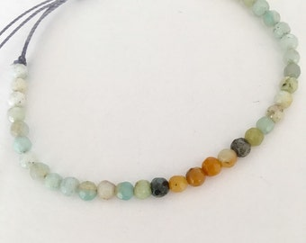 Dainty Amazonite gemstone bead bracelet for everyday. Friendship bracelet. Stacking bracelet.