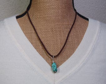 Natural american Turquoise Gemstone Pendant, 925 Silver Brown Leather Suede Necklace