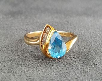 Blue Topax Gold Diamond Ring Vintage Size 8