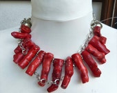 Red  coral tribal necklace with silver, natural huge branch coral
